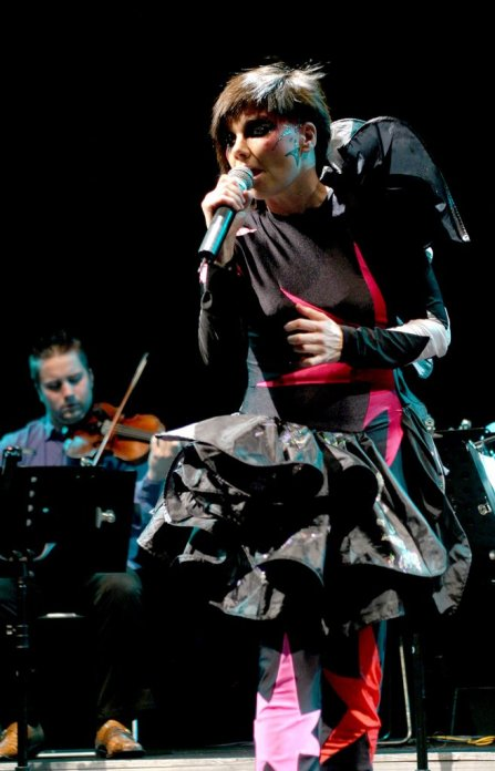 BJORK performs at Coney Island's Keyspan Park. Bjork has also performed in Moscow and Denmark in the past two months.